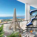 Апартаменты согромной террасой ипанорамным видом наморе, вэлитном жилом комплексе, рядом сАнглийской набережной, Фаброн, Ницца